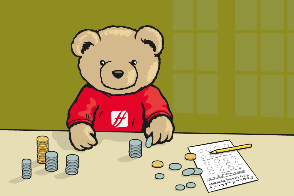 Eddie Teddie counting coins