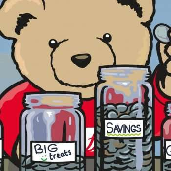 Eddie Teddie putting coins into his jam jars