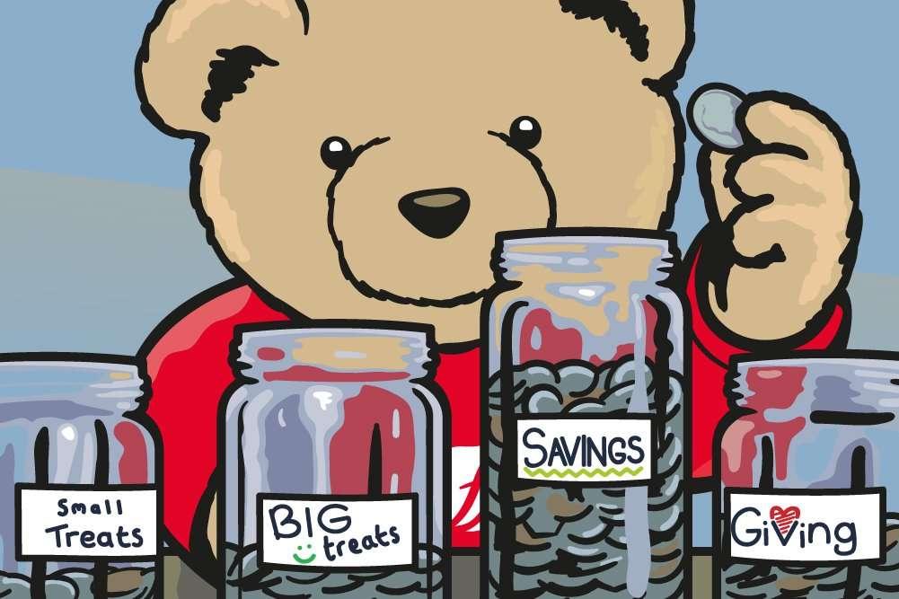 Eddie Teddie putting coins into his jam jars